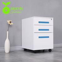 Muchn Office Furniture Mobile Galvanized Metal Caddy 3 Drawer Pedestal Cabinet