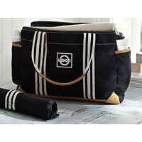 LEBON Black Classic Pure Cotton Twill Mom Diaper Bags With PU Trim/diaper bag/baby diaper bags/whole