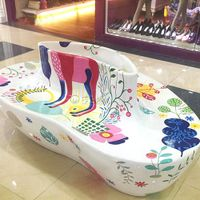 Color drawing fiberglass seating planter for shopping center