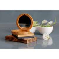 Bamboo Folding Box With Mirror For Cosmetic Powder