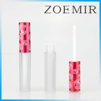 New style aluminum red rose metal liquid lipstick frosted bottle lipgloss