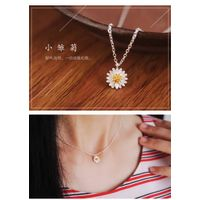 Twelve Female S925 Pure Silver Daisy Flower Necklace