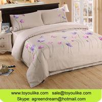 Handmade Flower Embroidery Bedding Set Cotton Queen Size Bed Linens