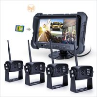 HOT 7 inch 2.4GHz digital Wireless Truck Camera Quad System with DVR