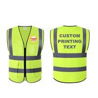 fluorescence orange with navy blue reflective strips free logo design safety vest thumbnail image