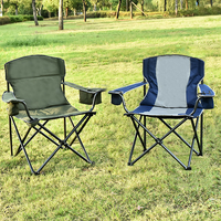 Los Angeles Folding Camping Chairs with Cooler Cup Holder Carry Bag for Outdoor, Green & Grey thumbnail image