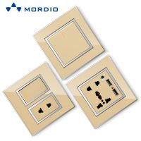 K8 Stainless/ Acrylic/ PC /Glass Silver and Golden Euro BS Standard Wall Electric 2P+E Socket