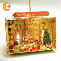 high quality holiday decorations customized 3D metal Christmas hanging ornaments thumbnail image