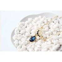 Gold Plated Elegant Dark Blue Crystal Water Drop Pendant Necklace for Women High Quality Pendant Cha