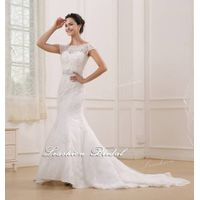 2015 Full lace beaded wedding dress-Lace+Satin+Beaded+Tulle