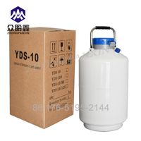 10L caliber 80mm Liquid Nitrogen Storage Tank Cryogenic Container with 6 Canisters
