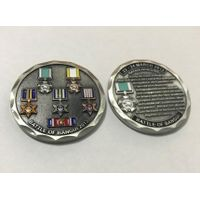 Custom Military Antique Silver 3D Metal Soft Enamel Challenge Souvenir Coin thumbnail image
