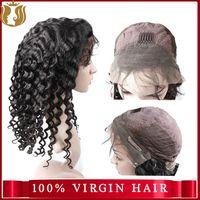 Sunshine natural Deep CURL human hair silk base lace front wig with baby hair Brazilian virgin hair