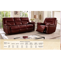 D9197r Recliner Sofa with Top Leather, Living Room Sofa, Manual Sofa, Sectional Recliner Sofa, Fabri