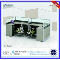 30mm office t shape workstation with end wooden panel