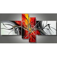 oil painting on canvas red yellow black white modern  home deco wall art N93