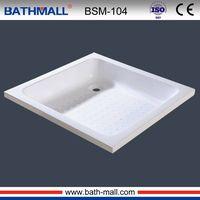 Square white plastic shower tray with anti slip