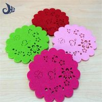 different color beautiful design polyester felt coffee cup mat thumbnail image