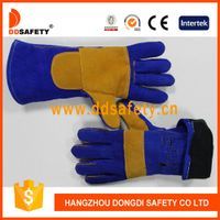 Blue with yellow welder glove-DLW627