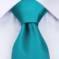 DiBanGu Men Ties Novelty Mens Neck 100% Silk Tie Turquoise Blue Neckties Cravat Fashion Solid Color thumbnail image