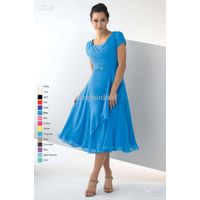 Wholesale Modest dress with pleated cap sleeves Bridesmaid Dresses tea length thumbnail image