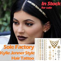 Wholesale temporary gold and silver hair and body tattoo sticker Kylie Jenner custom hair tattoo man