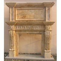 Double Marble Fireplace Of Carved Flower thumbnail image