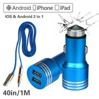 Emergency Rescue Hammer Window Glass Breaker Tool 3.1A Rapid Dual USB Cell Phone Car Chargers + 2in1
