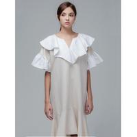Coett White Collar Dress (Beige/Mint)