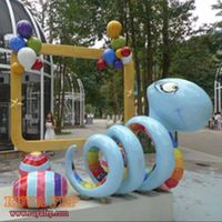 fiberglass snake decoration,resin craft outdoor display artworks