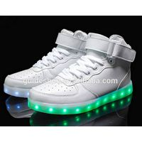 GD wholesale custom rubber and PU material big sizes cheap LED high top shoes
