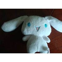 Keychain with long ear white plush Bunny