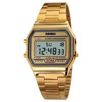 Gold Digital Sport Watch Stainless Steel Military Waterproof