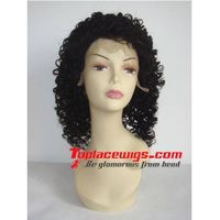 Stock 16 inch Jerry Curl Indian Remy Human Hair Lace Front Wigs