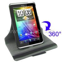 360 Degree Rotatable Leather Case with Holder for HTC Flyer (KTPC-0612)