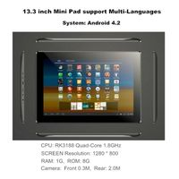 13.3 inch RK3188 Quad-Core 1.8GHz,