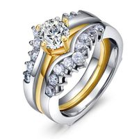 New Style WHOLESALE Women's Stainless Steel Princess Cut AAA CZ Wedding Ring Set Size 5,6,7,8,9,10 thumbnail image