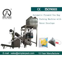 Pyramid Nylon Mesh Green Tea Bag Packing Machine with Outer Envelope