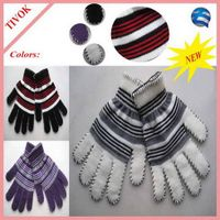95% Acrylic 5% Spandex Ladies Magic Glove with 2 Color Stripes and Blanket Stitch on Fingers and Cuf thumbnail image