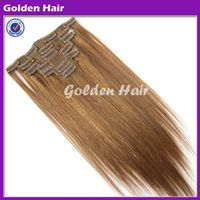 Golden Hair Top Quality Grade AAAA Wholesale Double Drawn Clip in Hair Extension thumbnail image