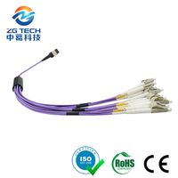 10Gbs 12 24Fiber OM4 Multi Mode Female MTP MPO Fanout patch cord for 100G Network
