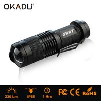 OKADU ZQ01 AA Battery Rechargeable Pocket LED Torch Mini Zoom Cree Q5 LED Flashlight