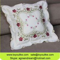 Toyoulike Floral Embroidered Decorative Throw Cushion Cover for Car