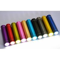 Newest Metal column mini power bank with led torch customized logo print promotional gift 2200mah