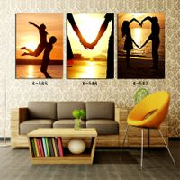 realistic portrait oil painting lovers seaside in sunset beach landscape canvas wall art