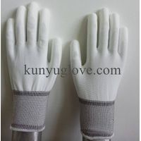 White resistant polyster PU Coated Working safety Gloves,Labor Gloves for Chemical Work