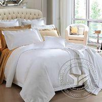 Deluxe design 400TC satin plain 5star hotel white bed linen set thumbnail image
