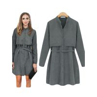 2017 New Arrival Grey Women Winter Coat Dress Casual Dress