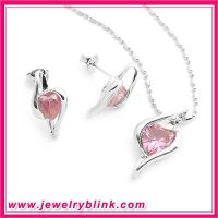 Pink Heart Cz Pendant and Earring Set S1018