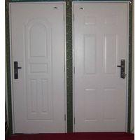 metallic door, steel door with wood edge